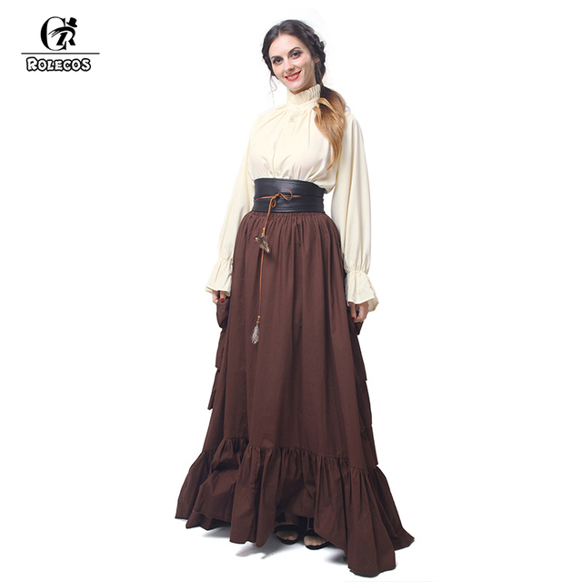 b79209f8a037 ROLECOS Retro Costume Women Medieval Renaissance Blouse and Long Skirt With  Belt Evening Dresses High Quality