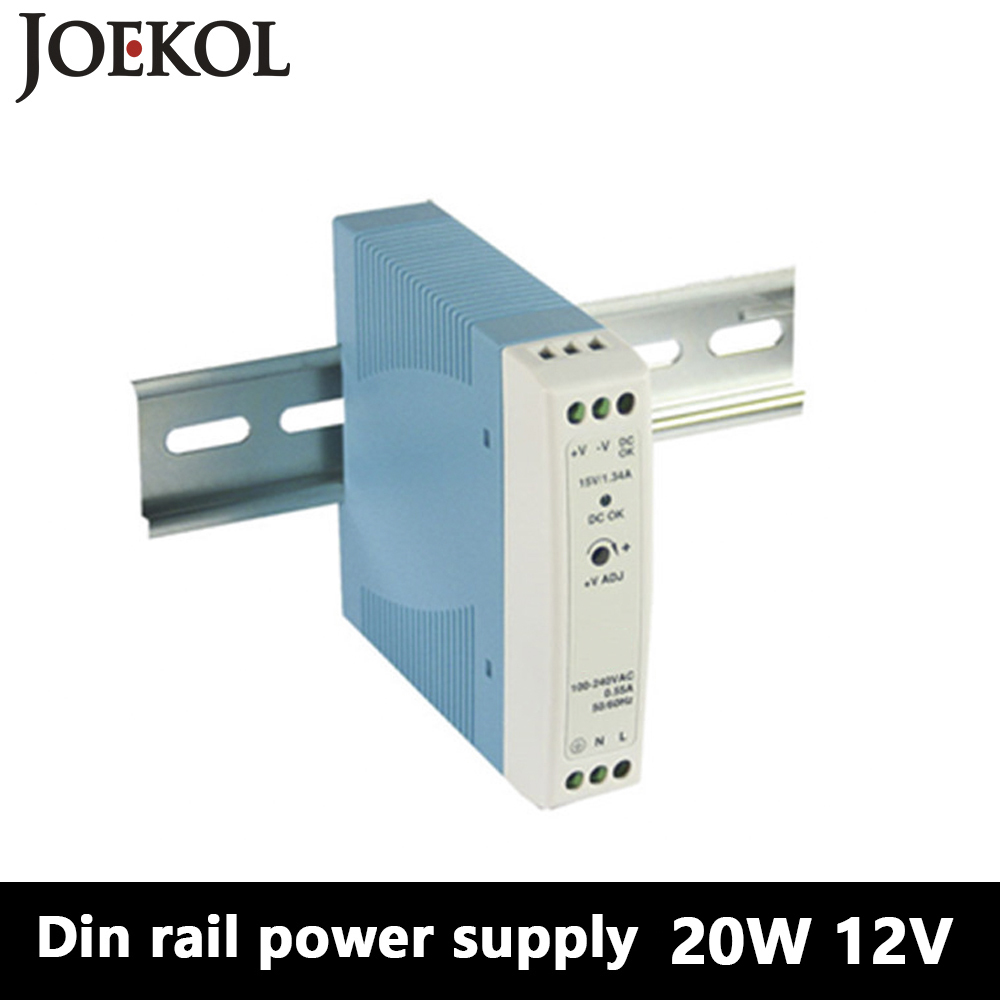 MDR-20 Din Rail Power Supply 20W 12V 1.67A,Switching Power Supply AC 110v/220v Transformer To DC 12v,ac dc converter 5 pcs lot dc 12v adapter driver module ac 90v 240 110v 220v to dc 12v 3 5a switching power supply 36w ac to dc power converter