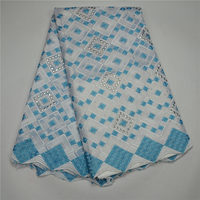 Pretty design dubai lace fabric/sky blue with white lovely voile lace JL
