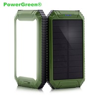 PowerGreen Solar Power Bank Solar USB Battery Charger 10000mAh Dual Outputs Solar Cell Energy Backup with Flashlight for Xiaomi