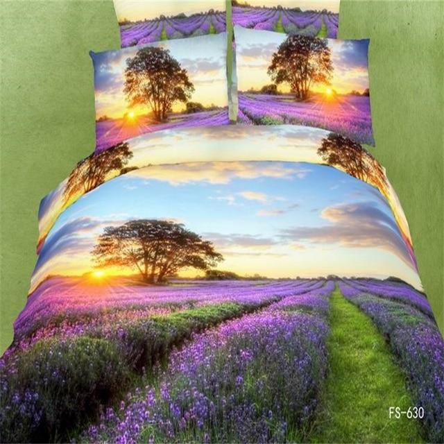 Sunset Lavender Fields 3d Bedding Set Queen Size Quilt Cover Pillow Case Bed Linen High Grade