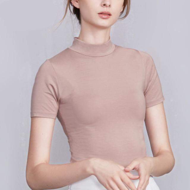 5d665f6c2 2019 verano cuello alto Medio Casual de manga corta Camiseta básica Coreana  de Moda Mujer Plus