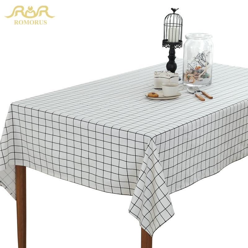 €9.56 |ROMORUS blanc noir gris Plaid nappe moderne nappes rectangulaire  Table à manger couverture linge coton décoration de maison-in Nappes from  ...