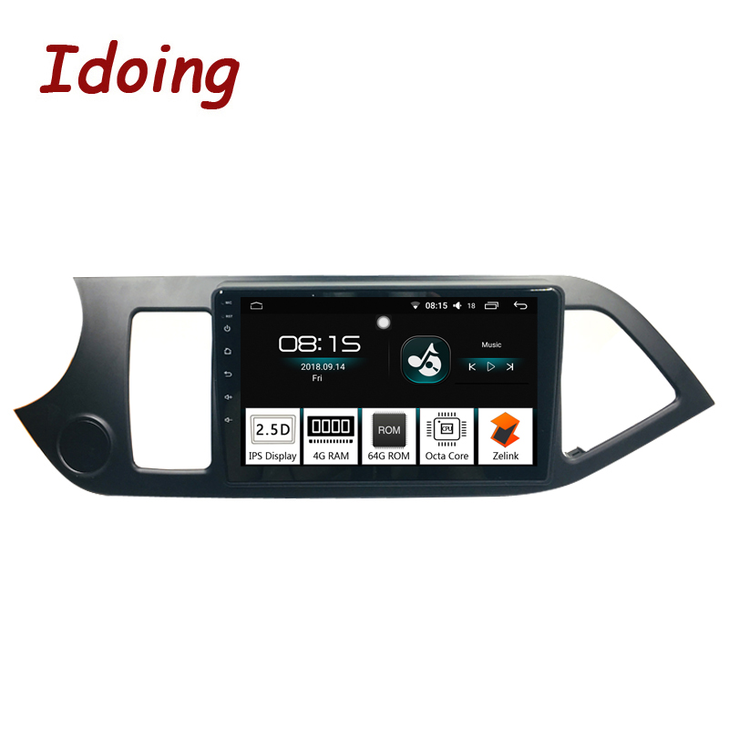 Idoing 1Din 9 Voiture Android 8.0 Radio GPS Lecteur Multimédia Pour Kia Picanto Matin 2012 4g + 64g Octa Core Navigation Rapide Boot 3g