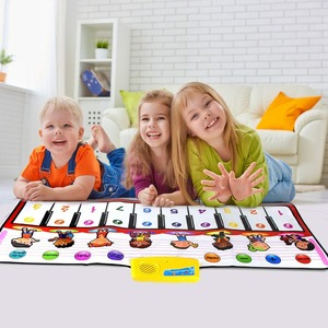 Image 1 - 100x40cm פסנתר צעצועים מוסיקלי לשחק מחצלת עם 8 מכשיר קול & אחד מפתח אחד הערה & לשחק בחזרה פונקצית תינוק לשחק שטיח חג המולד צעצועים