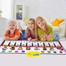 100x40cm piyano oyuncaklar müzikal oyun matı ile 8 enstrüman ses ve bir anahtar bir not ve oynatma fonksiyonlu bebek oyun halı noel oyuncaklar