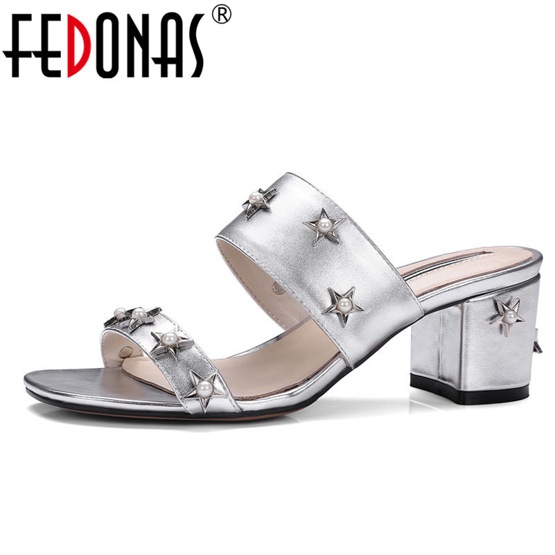 FEDONAS Gladiator Sandals Women Genuine Leather Comfortable Summer Shoes Woman Sexy Rivets Female Slippers 2018 New Shoes phyanic 2017 gladiator sandals gold silver shoes woman summer platform wedges glitters creepers casual women shoes phy3323