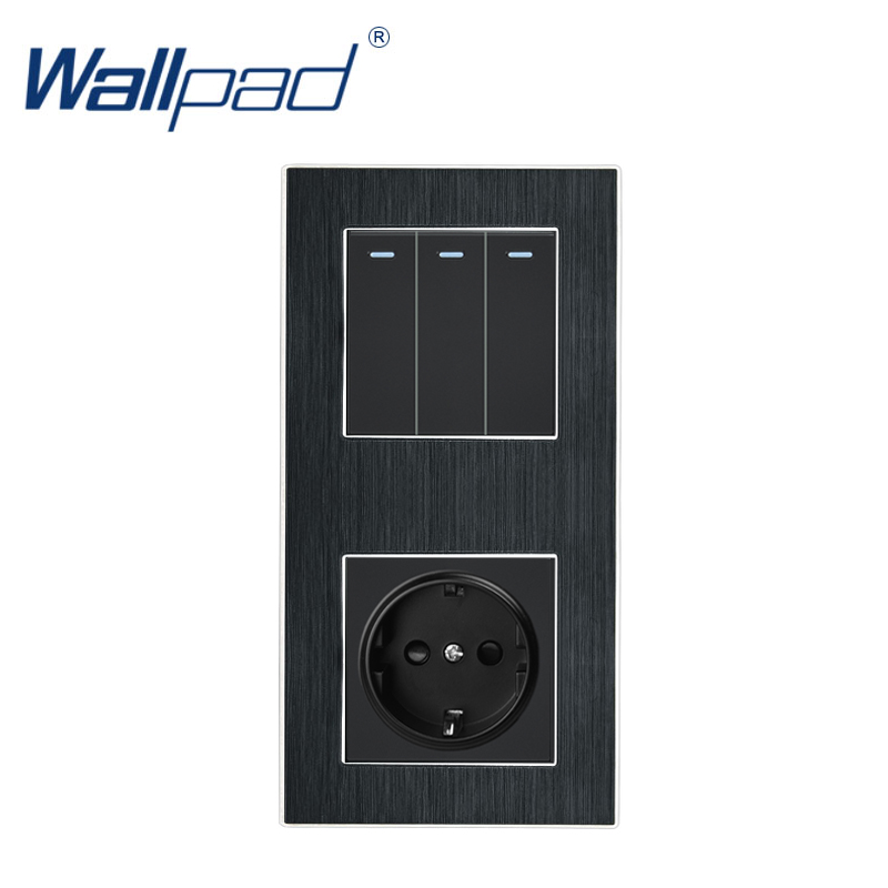 3 Gang 2 Way With EU Socket Wallpad Luxury Satin Metal Panel Push Button Rocker Wall Light Switch + EU Socket 110V-250V