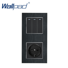 3 Gang 2 Way with EU Socket Wallpad Luxury Satin Metal Panel Push Button Rocker Wall Light Switch + EU Socket 110V 250V