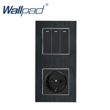 цена на 3 Gang 2 Way with EU Socket Wallpad Luxury Satin Metal Panel Push Button Rocker Wall Light Switch + EU Socket 110V-250V