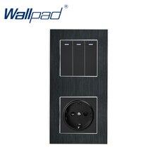 3 Gang 2 Weg mit EU Buchse Wallpad Luxus Satin Metall Panel Push Button Rocker Wand Licht Schalter + EU buchse 110V 250V