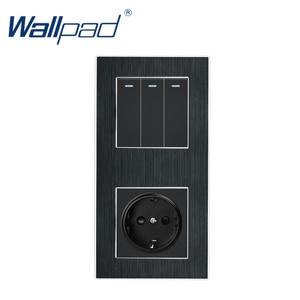 Image 1 - 3 Gang 2 yollu ab soket Wallpad lüks saten Metal Panel basma düğmesi Rocker duvar ışık anahtarı + ab soket 110V 250V