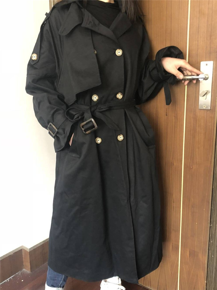 Russian autumn winter casual loose trench coat with sashes oversize Double Breasted Vintage overcoats windbreaker outwear 17