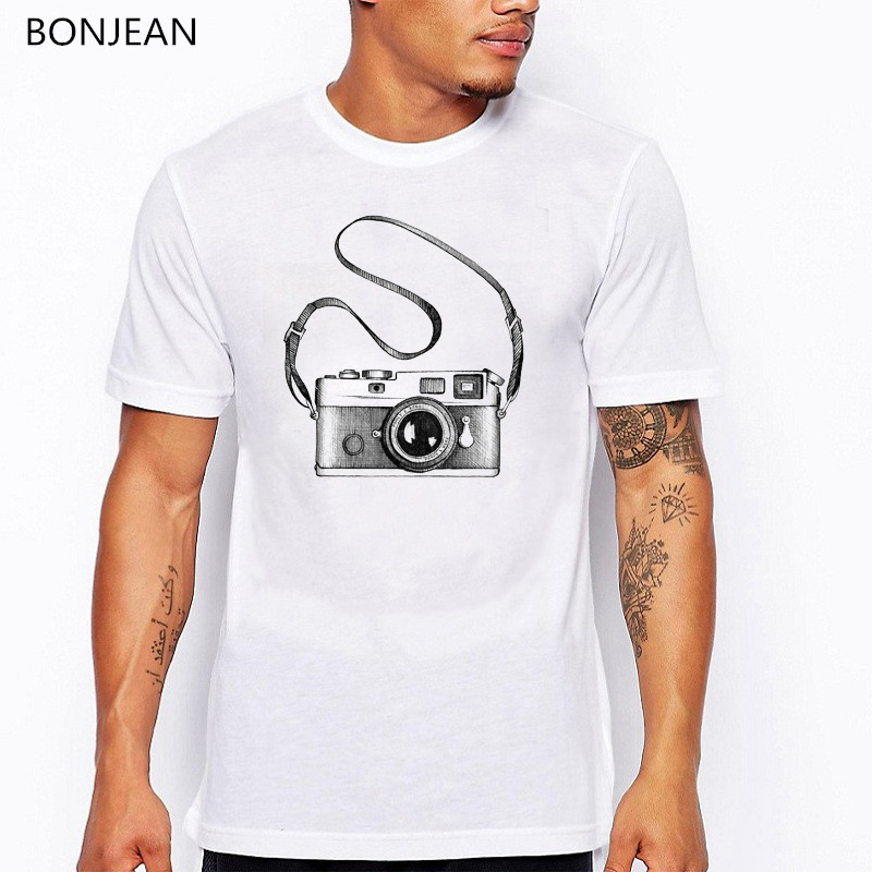 2019 new watercolor Camera Photography printed t shirt men summer tops tee shirt homme casual harajuku white tshirt streetwear in T Shirts from Men 39 s Clothing