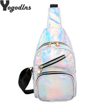 Wanita Laser Hologram Tas Dada Fashion Paten Kulit Hologram Single Tas Bahu Perjalanan Pria Sling Dada Pack Messenger Bag(China)