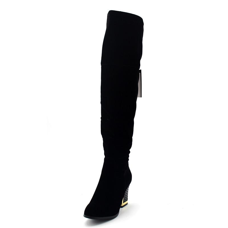 Chaud Hauts Chaussures Black Enmayer Qualité Peluche Sur Cacual Genou Bottes Solide Carré Dames Supérieure En Femme Hiver Flock Talons Le Talon Zipper k8wPn0O