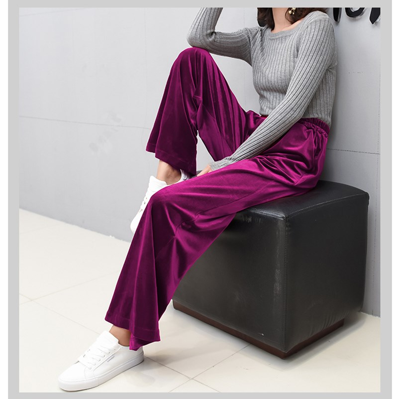 Casual   Wide     Leg     Pants   Women Autumn Winter Velvet   Pants   High Waist Elastic Long Elegant Solid Trousers