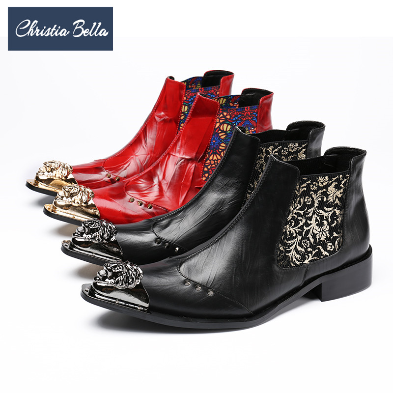 Christia Bella New Fashion Metal Pointed Toe Men Boots Printing Genuine Leather Ankle Boots Winter Zipper Men Motorcycle Boots