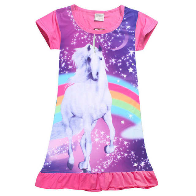 Unicorn Princess Dress Fashion Summer Soft Girls Dress Nightgown Kids Dresses Night Gown Pajamas Dress Sleepwear Pyjamas Clothes