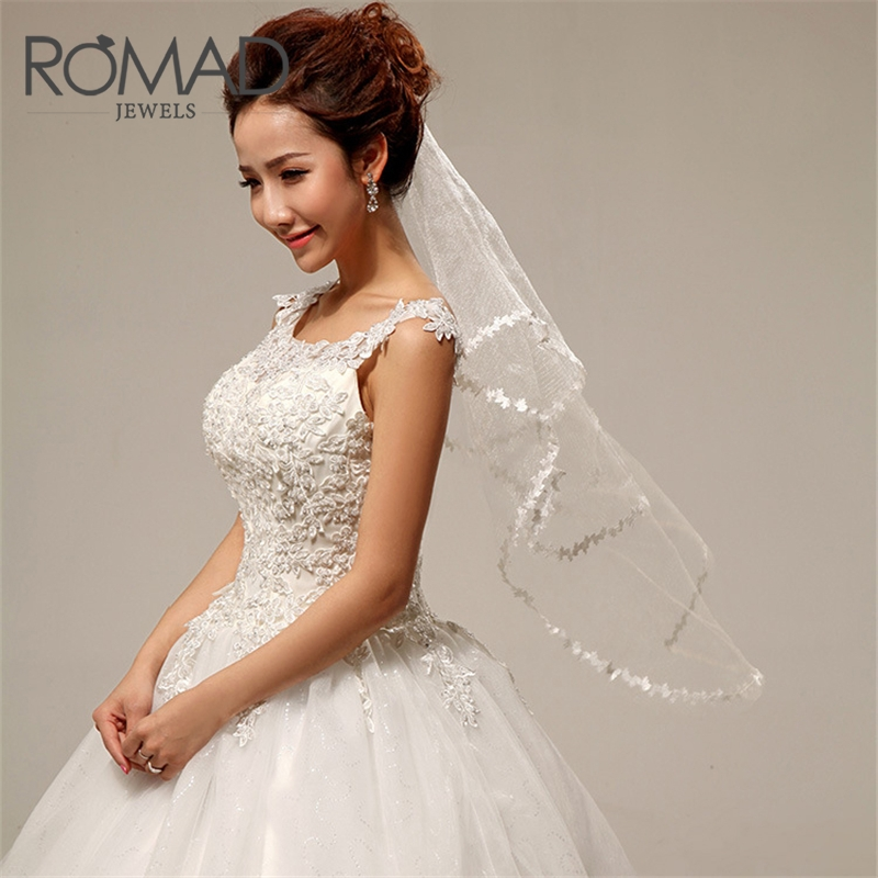 ROMAD Women Bridal Short Wedding Veil Simple White One Layer Lace Flower Edge Appliques Bridal Veils Accessories R50