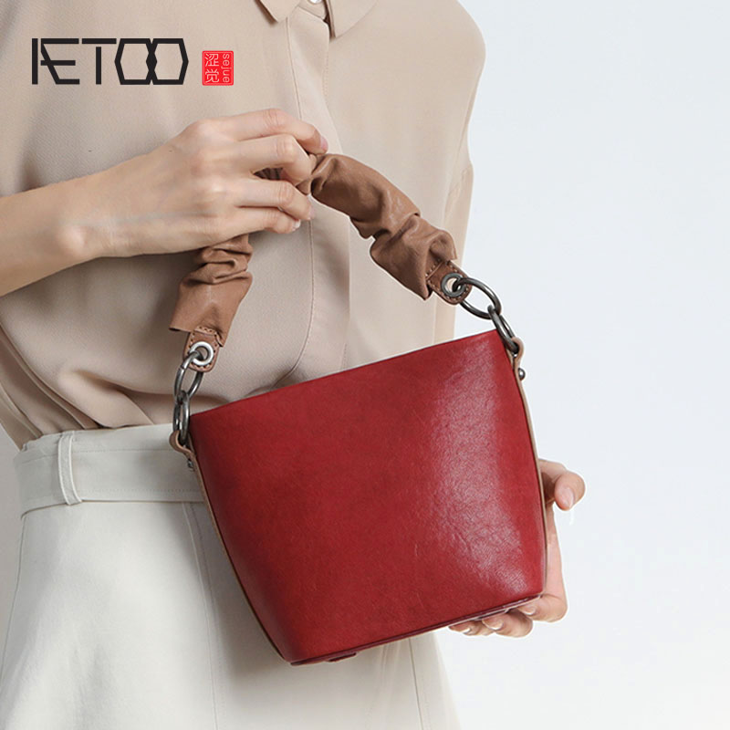AETOO Sheepskin small bag new wave Korean version of the wild leather one shoulder Messenger bag portable bucket bag aetoo retro cute korean version of the japanese small fresh girl heart handbag simple shoulder slung bucket bag