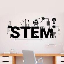 Science Stem Logo Wall Stickers Creative Style Vinyl Decal Technology Pattern Wall Poster School Classroom Decoration AZ273