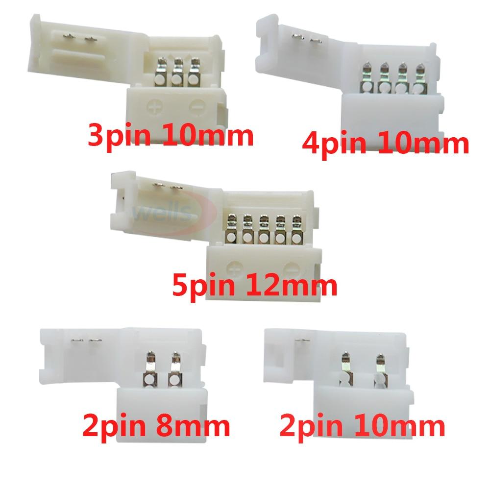 10pcs 2pin 3pin 4pin 5pin led connector Clip, for 5050 3528 3014 LED single color/ RGB RGBW Strip 5m 10m 20m 50m 2pin single 3pin 2811rgb 5pin rgbw extension 4pin rgb white rgb black wires connector cable for rgb led strip