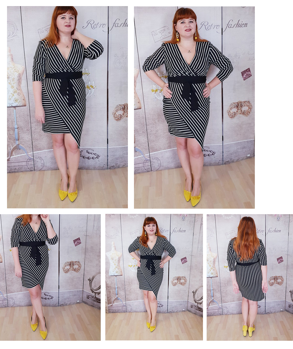 SHEIN Black and White Plus Size Deep V Neck Striped Dress Asymmetrical Hem Women Workwear Going Out Elegant Dresses 4