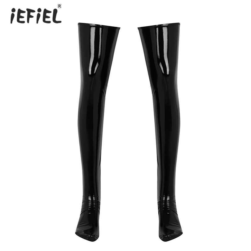 1 Pair Men Soft Latex Stockings Medias Hombre Wetlook Patent Leather Stocking Thigh High Footed Clubwear Costume Cosplay Hosiery
