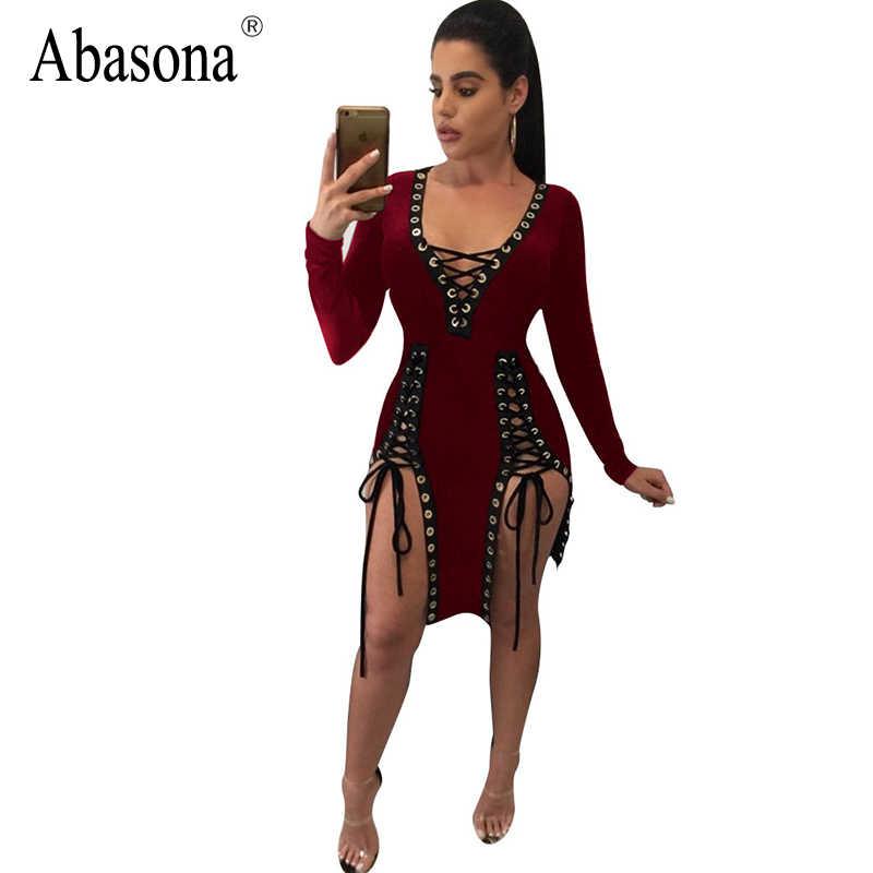 10dd749af6 Abasona Lace up deep v neck rivet patchwork sexy bodycon dress Split night  club party dresses Long sleeve women summer dress