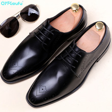2019 Designer Handmade Fashion Shoes Luxury Wedding Party Genuine Leather Derby Brogue Dress Shoes Men Footwear derby shoes