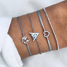 Vintage Map Geometric Triangle Bracelet Silver Rope Braclet for Women Cuff Jewelry Wholesale 4Pcs/Set недорго, оригинальная цена