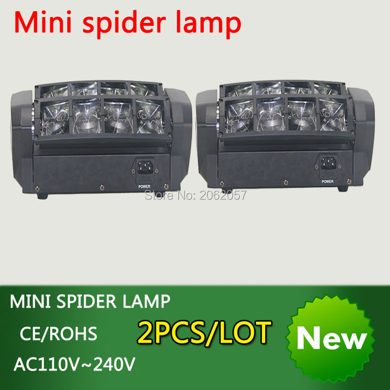 new arrive  2pcs/lot  8*10W mini led spider light RGBW moving head beam light disco dj DMX512 professional effect stage lights 10w mini led beam moving head light led spot beam dj disco lighting christmas party light rgbw dmx stage light effect chandelier