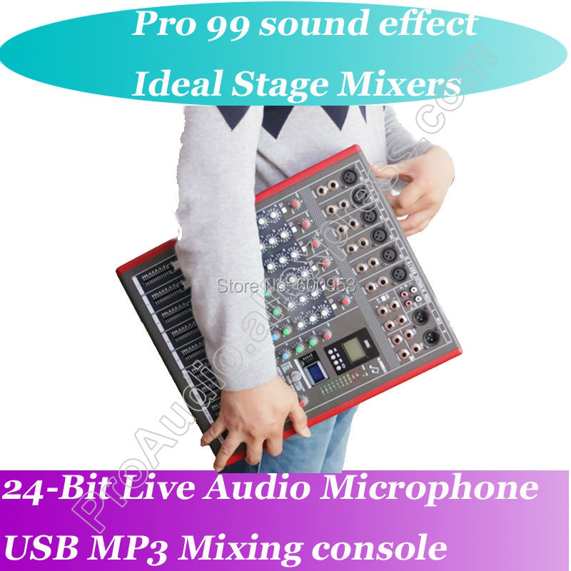 New 6 Channel High-end Mixing Console 24-Bit Multi-FX Processor 99 digital reverb Studio Audio Mixers Mixer network sing MP3 professional 4 channel live mixing studio audio sound console network anchor portable mixing device vocal effect processor
