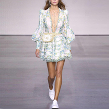 Long Sleeve  Floral Print Lace Fringe  Dress