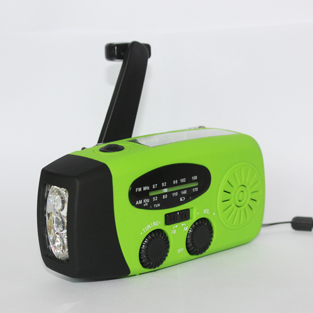3 Bright LED Flashlight Poratable Phone Charger Hand Crank Solar AM/FM Radio With Small Dynamo