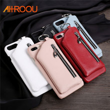 AHHROOU For iPhone 8 Case Leather Luxury Zipper Handbag Wallet Phone Cases For iPhone 7 6S 6 8 Plus Bag Ring Hard PC Back Cover