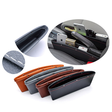 Car Organizer Box Caddy Catcher PU Leather Seat Gap Storage Bag Slit Pocket For Phones/Cards Side
