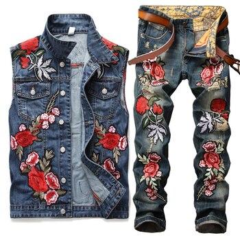 Conjunto de 2 piezas de bordado Floral, conjuntos de vaqueros de Hip Hop para motocicleta, marca famosa para hombres, chaleco vaquero desgastado con agujero y Twinsets de Vaqueros