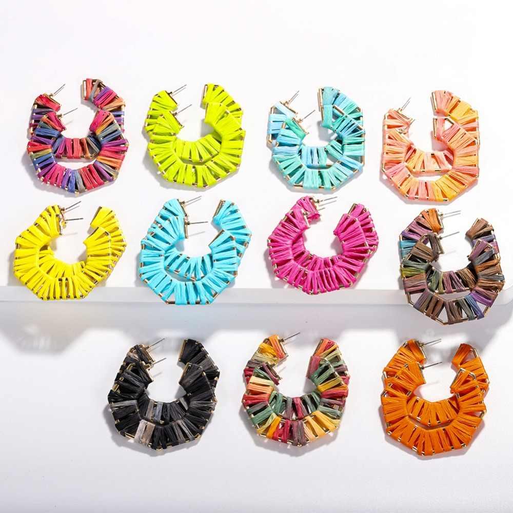 Girlgo Ins Rainbow Raffia Trái Tim Thả Bông Tai Nữ Boho Tua Rua Acrylic Tua Rua Bông Tai Thương Hiệu Thiết Kế Trang Sức Quà Tặng Nóng