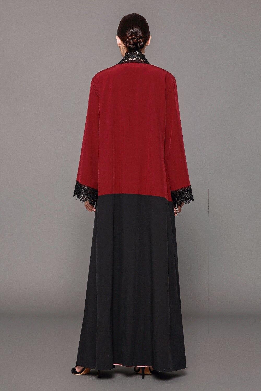 Elegant Women's Muslim Abaya Lace Cardigan Maxi Dress Tunic Thobe ...
