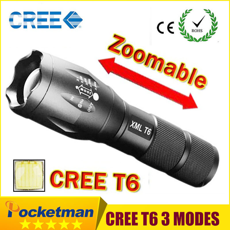 CREE XM-L T6 3800Lumens cree led Torch Zoomable cree LED Flashlight Torch light For 3xAAA or 1x18650 Free shipping 3000 lumens zoomable cree xm l t6 led tactical flashlight torch zoom lamp light waterproof led 5 modes for 1x18650 3xaaa