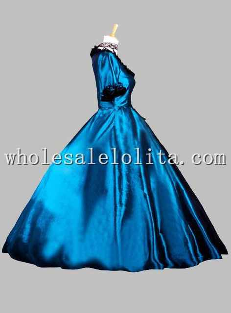 placeholder Gothic Blue and Black Victorian Era Dress Historical Stage  Costume 65f40e79d0bb