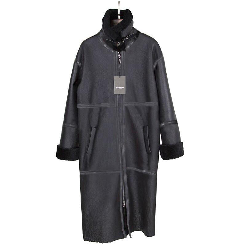 OFTBUY 2019 Double-faced Fur Outerwear Winter Jacket Women Long Parka Merino Sheep Real Fur Coat Thick Streetwear Brand Luxury