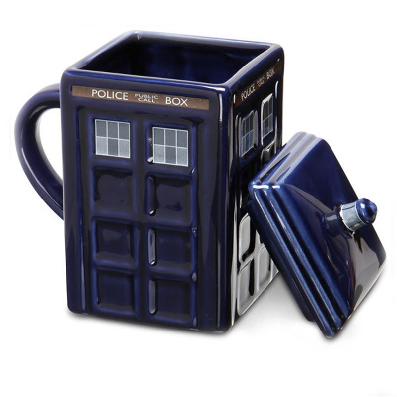 Doctor Who Tardis Creative Police Box Mug With Lid Funny Ceramic Coffee Tea Cup For 3d Travel mug Gift Novelty mug Gift