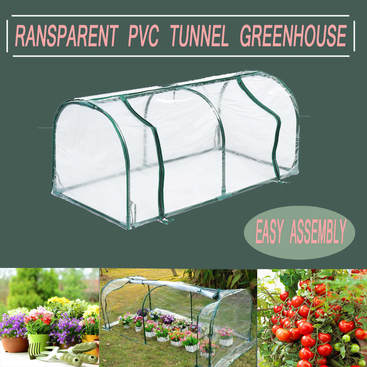Removable Steel Frame Outdoor Plant Cover Zipper Garden GreenHouse PVC Warm Garden Household Plant Greenhouse Cover 128X60X58CM