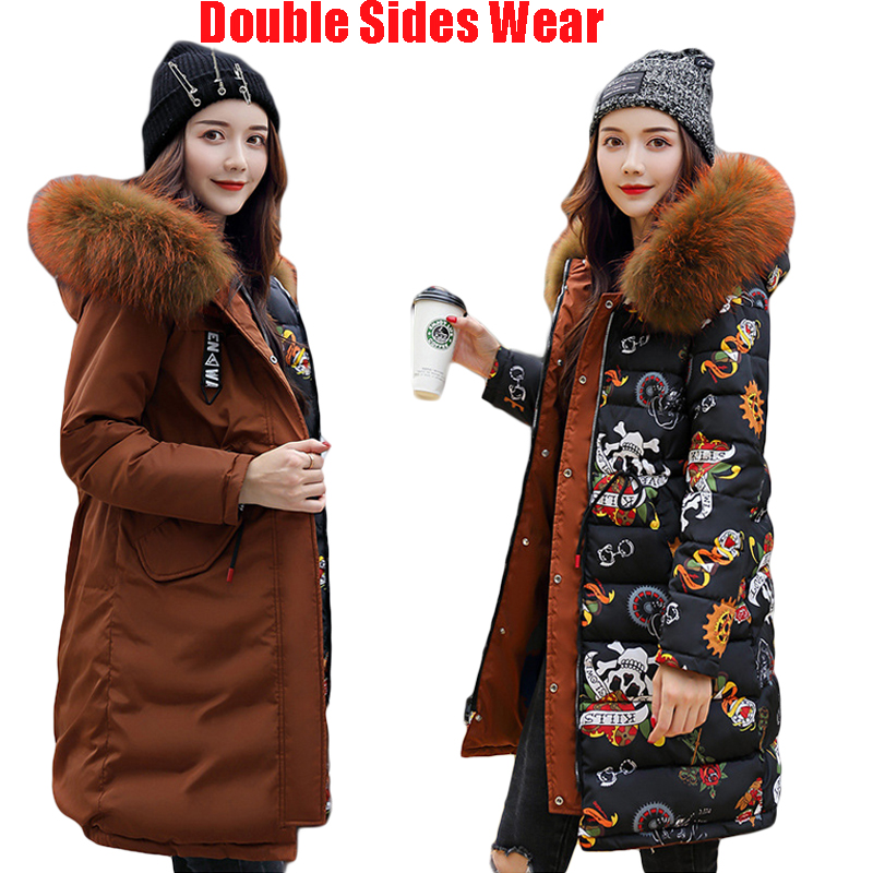 Double Sides Wear Down Cotton Coat Plus Size Loose   Parka   Long Winter Women Jacket 2018 New Warm Thick Straight Outerwear D041