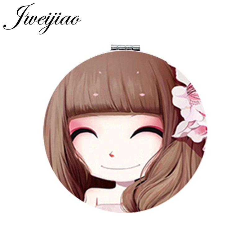 Jweijiao Girls Makeup Mirror Round Folding White Pu Leather Compact Portable Pocket Mirror Cosmetic Beauty Tools & Accessories