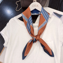70*70cm Design NEW horse chain printed Fashionable Women Girls Neckerchief Scarf Fake Silk Wraps Elegant Head Neck Hair Tie Band