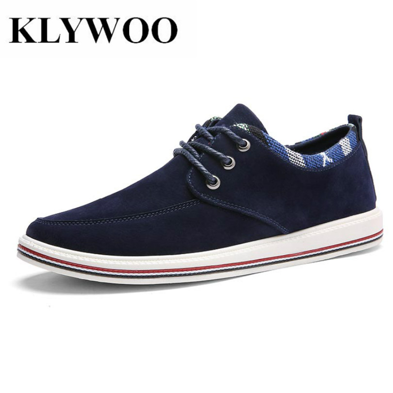 KLYWOO Big Size 39-47 Mens Casual Shoes Brand Breathable Spring Lace up British Style Suede Leather Shoes Men Fashion Sneakers